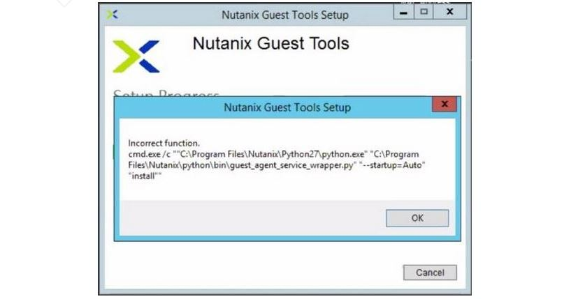 Nutanix NGT Tool Setup Failed Error